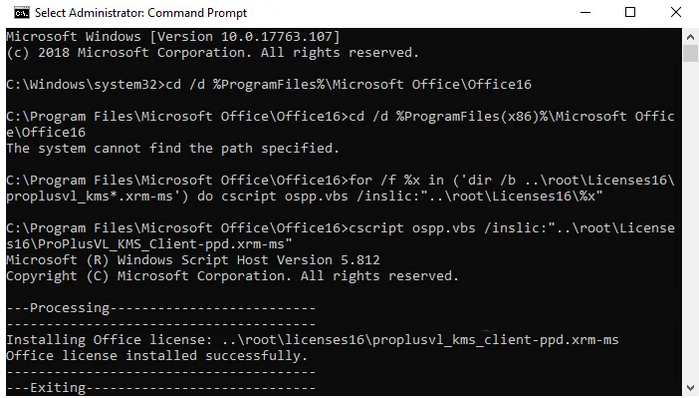 Kích hoạt office 365 bằng Command Prompt