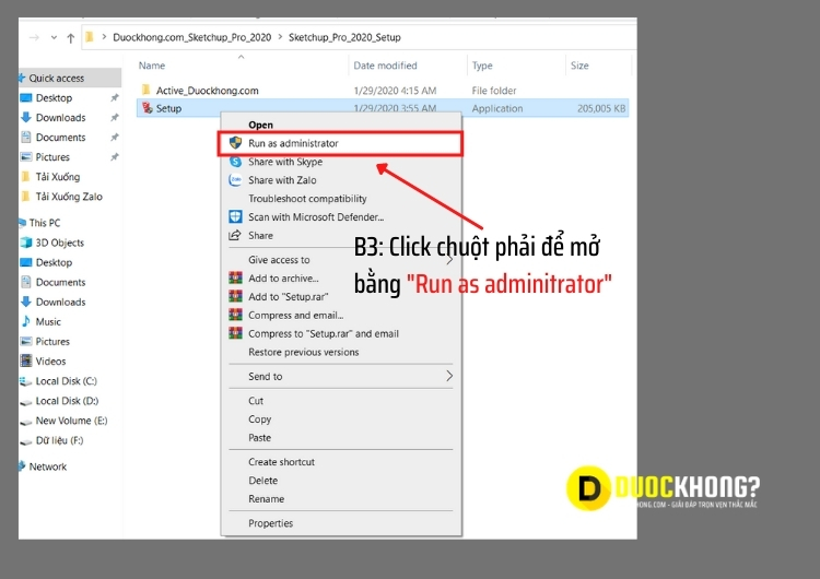 Mở file bằng Run as adminitrator